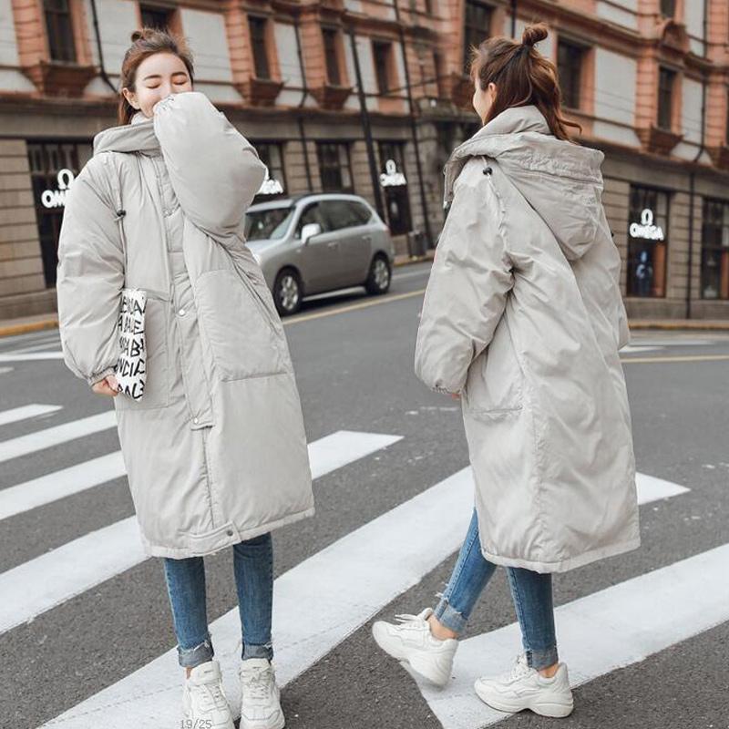 Xuống áo của phụ nữ phần dài kích thước lớn mùa đông lỏng bf bánh mì quần áo cotton quần áo áo khoác sinh viên dày trùm đầu Hàn Quốc phiên bản Bông