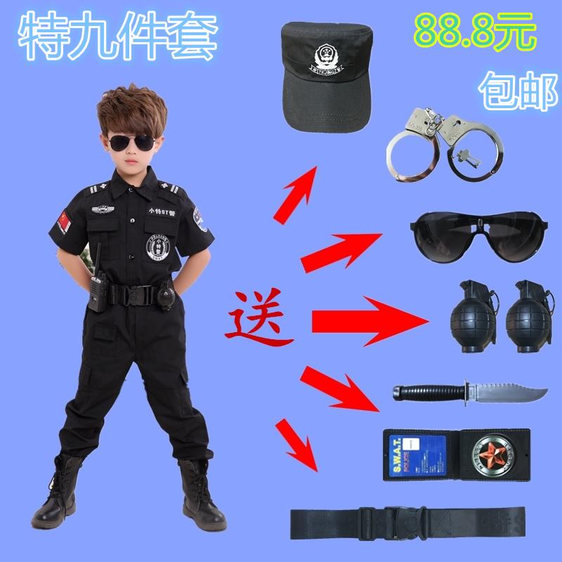 Trẻ em đào tạo đặc biệt của cảnh sát trang phục nam giới và phụ nữ đồng phục cảnh sát mùa hè đồng phục nhỏ mẫu giáo black cat sheriffs chơi quần áo