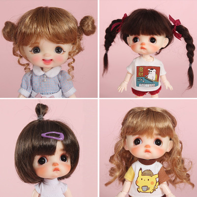 taobao agent ob11 face doll wig fake hair mohair high temperature wire 6 points 8 points bid egg egg smile wig