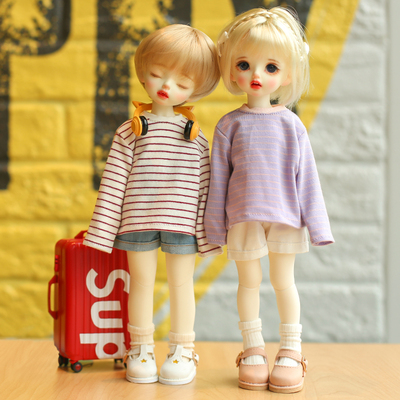 taobao agent BJD 6-point baby clothes basic short-sleeved T-shirt long-sleeved T-shirt striped top 1/6 yosd doll clothes