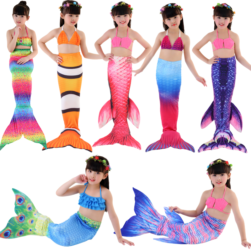 Trẻ em của nàng tiên cá đồ bơi bé đuôi đồ bơi cô gái nàng tiên cá trang phục bãi biển ba mảnh chia áo tắm