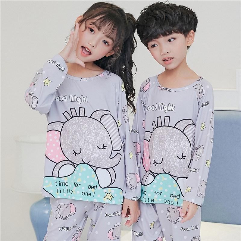 儿童睡衣春秋男童长袖卡通家居服男孩小孩子夏季中童薄款套装