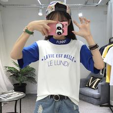 6303#实拍2019新款夏装韩范ulzzang半高领学生短袖t恤女拼色上衣