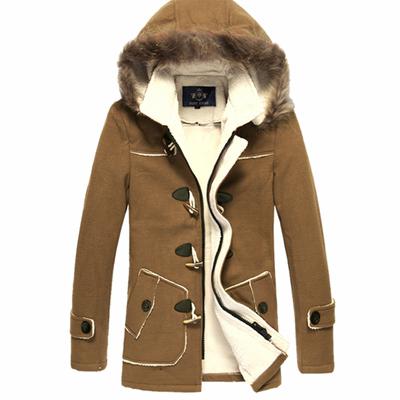 Hàng ngày đặc biệt mùa thu và mùa đông mô hình Slim trùm đầu sừng khóa len áo len nam dài áo khoác dày Áo len