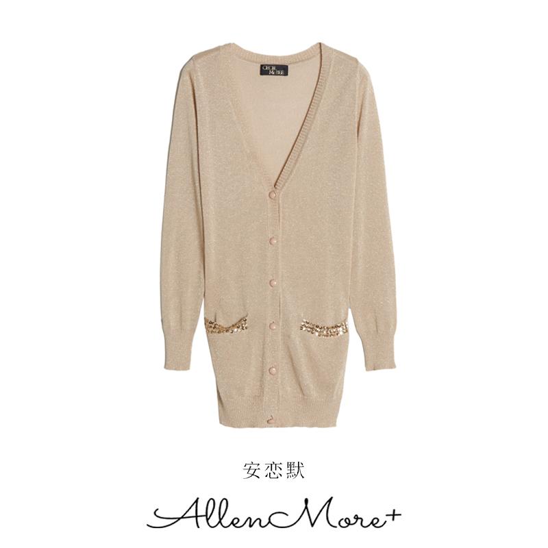 SY001 AM 安 恋 默 18 đầu mùa thu mới thời trang hoang dã màu rắn lớn V-Cổ knit cardigan coat