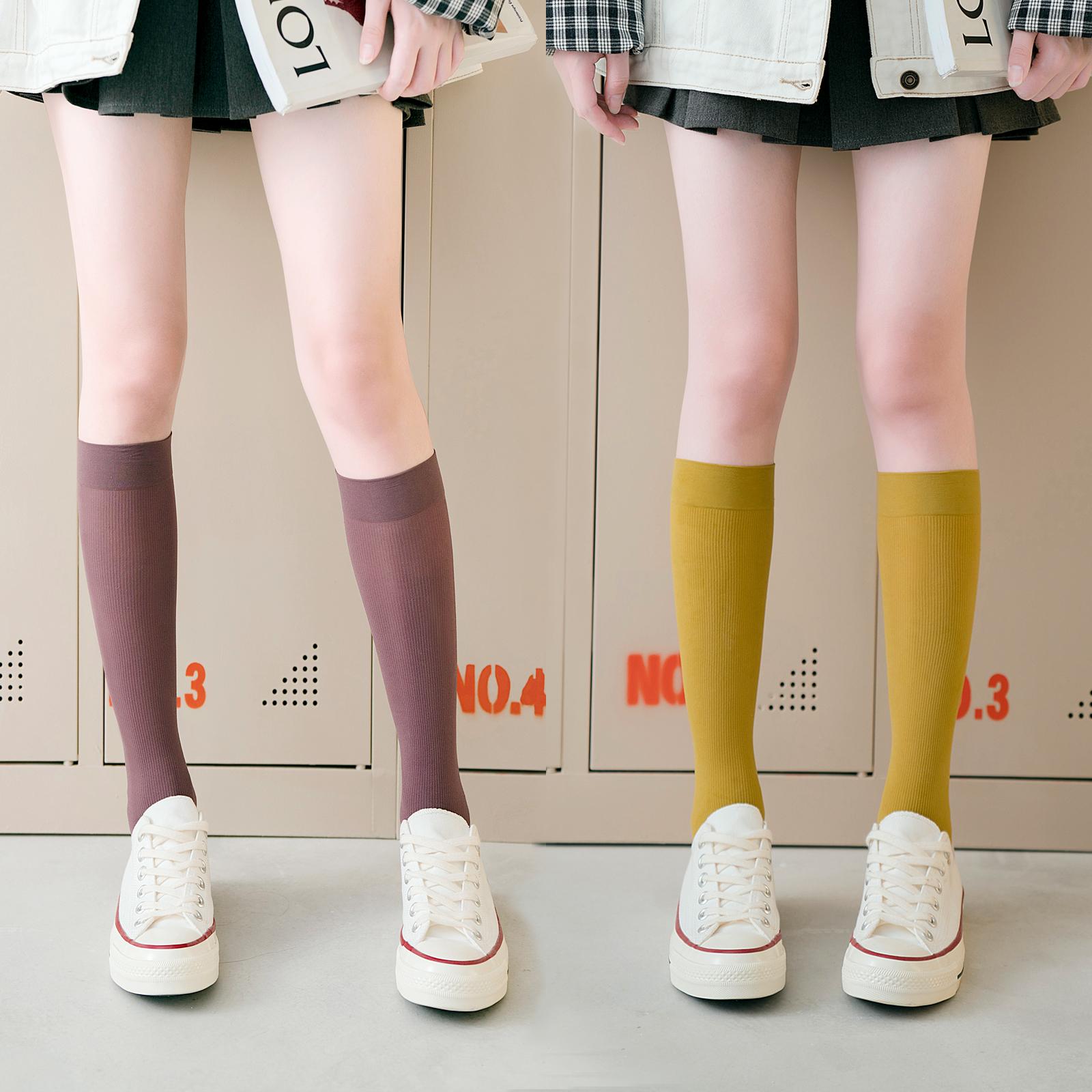 Stockings nữ ins đường phố mùa hè mỏng phần jk nhung bê vớ mùa hè vớ màu trắng Nhật Bản màu đen - Vớ sợi tre