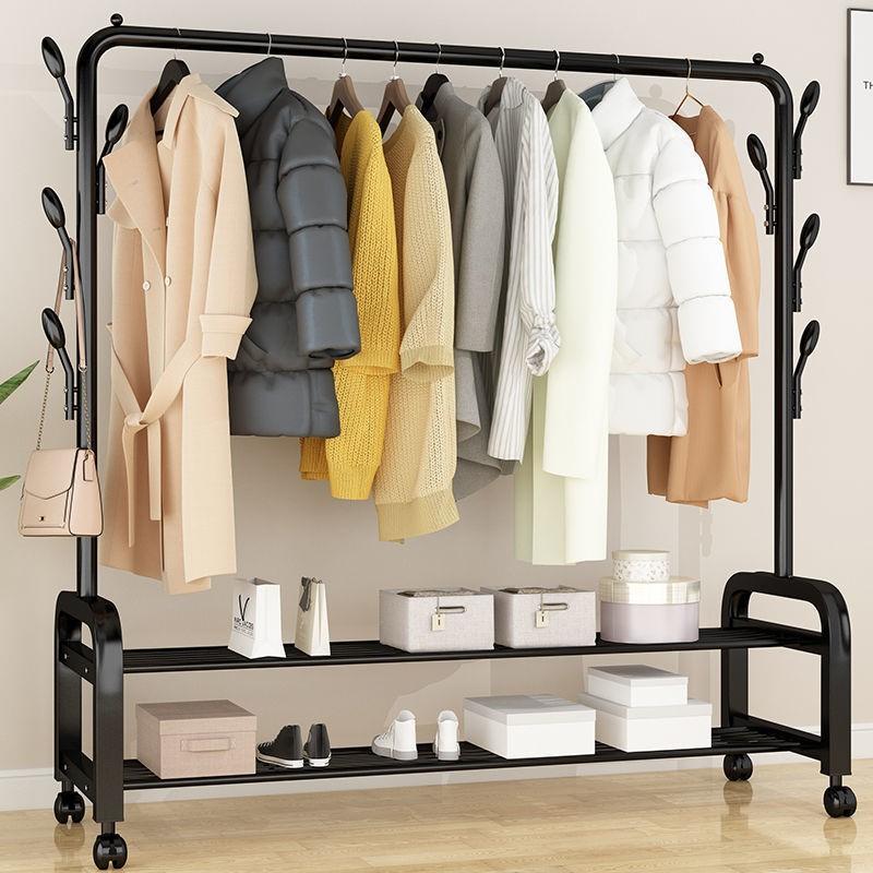 晾衣架落地折叠室内单杆式晒衣架卧室挂衣架