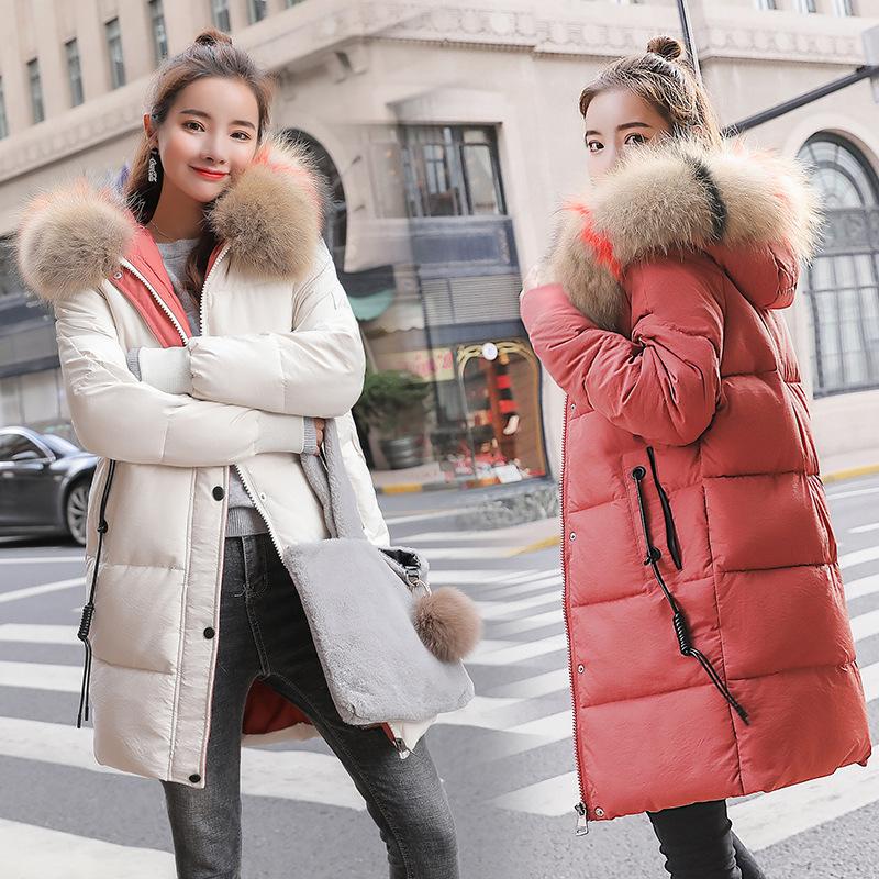 011羽绒棉服女18冬季新款韩版中长款棉衣连帽大毛领加厚棉袄外套