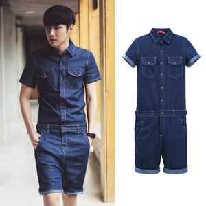 Hàn Quốc mùa hè nam mỏng ngắn tay jumpsuit Hàn Quốc phiên bản của thủy triều của nam giới denim quần short áo sơ mi phù hợp với thủy triều