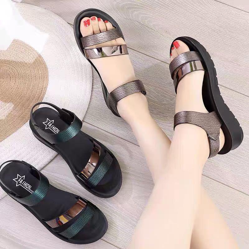 夏季新款凉鞋女软底妈妈平底鞋防滑