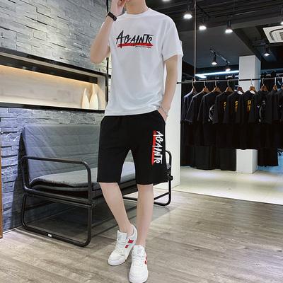 短袖男t恤一套装新款夏季套装运动半袖