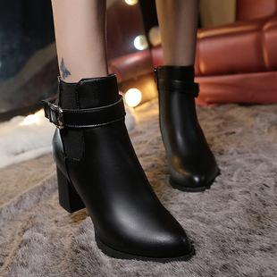 秋冬季新款切尔西靴欧美粗跟短靴女