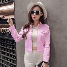 实拍主推牛仔外套女修身短款彩色学生糖果衫韩版上衣夹克B8268