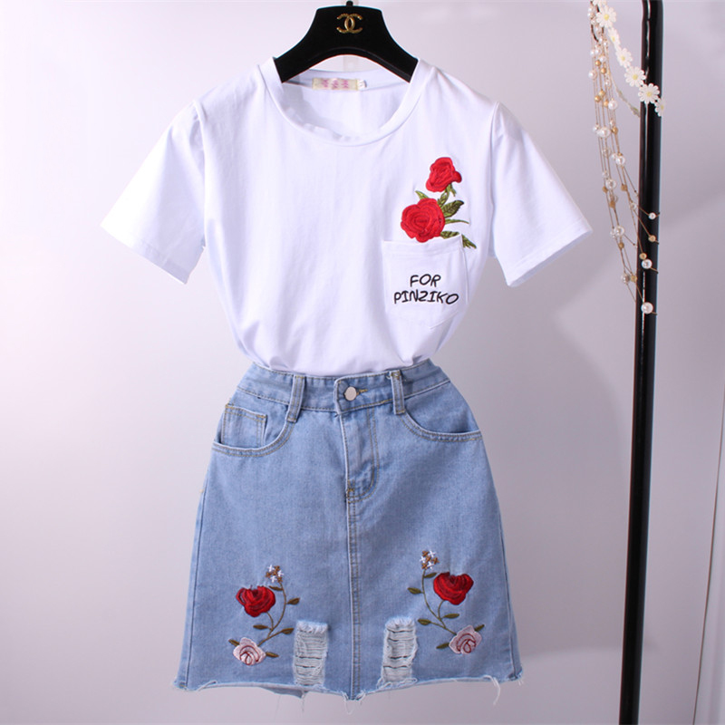 刺绣短袖t恤A字半身裙两件套