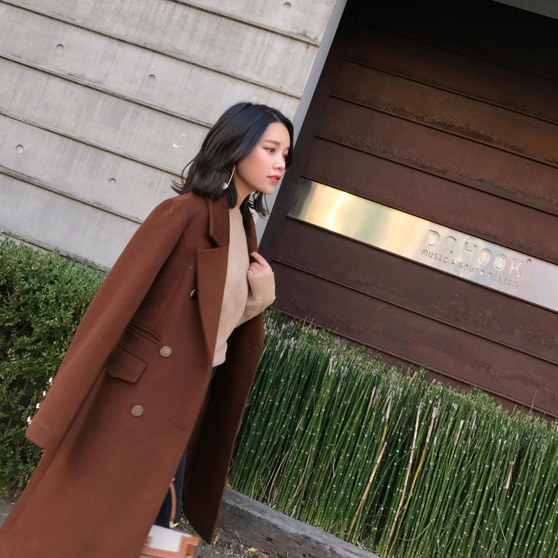 DALU STUDIO 2017 mùa thu và mùa đông mới đôi ngực eo áo len trong phần dài là mỏng áo len
