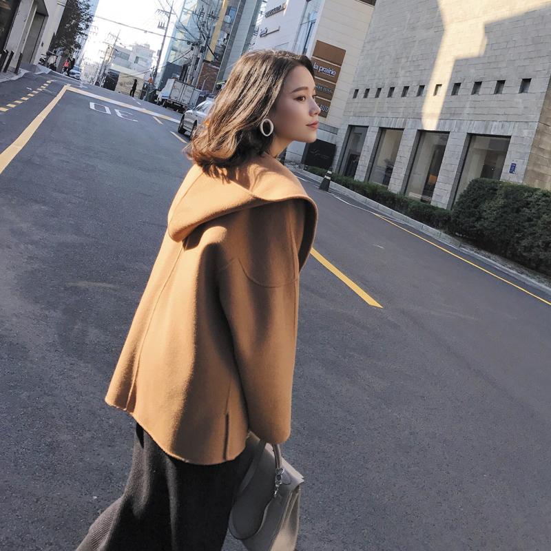 DALU STUDIO 2017 mùa thu và mùa đông mới lỏng trùm đầu len coat hai mặt ngắn áo choàng