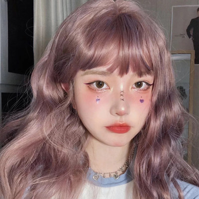 taobao agent Net red long curly hair thin vine color natural lifelike student girl group curly hair repair face temperament corn hot noodle head clavicle