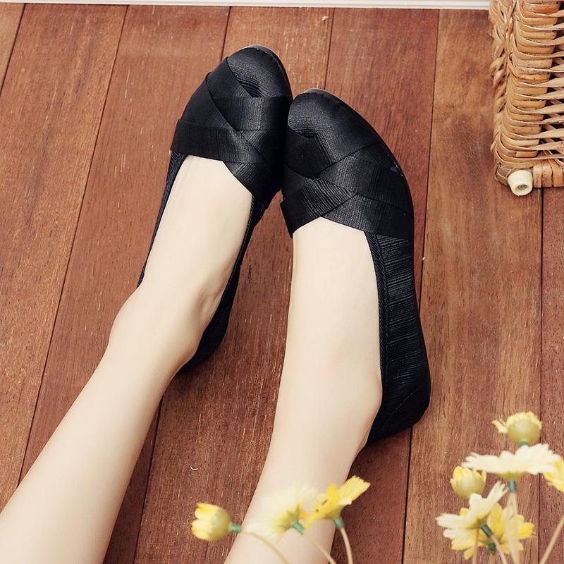老北京布鞋女鞋春款编织浅口妈妈鞋软底孕妇鞋工作鞋舒适平底单鞋