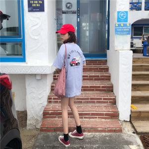 实拍!已检测!韩国学生新款印花宽松T恤下体失踪上衣122#