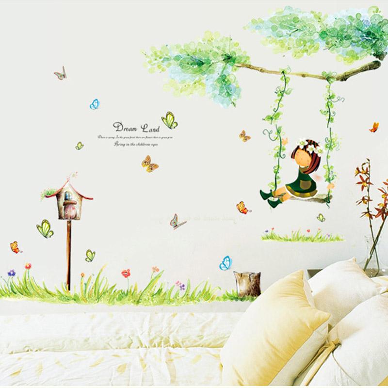 超大型樱花树下浪漫可爱温馨婚房卧室客厅电视背景可移除墙贴纸画[券后8.90元]