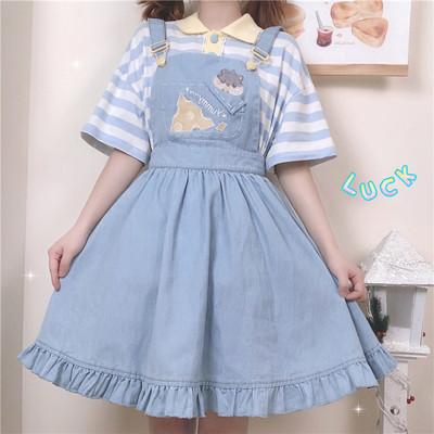 taobao agent 【To Alice】C5501 original greedy mouse POLO shirt + strap skirt【Deposit】