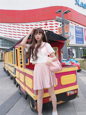 42agent [To Alice] J508 original pigs Kansai 襟jk sailor uniform shirt + pleated skirt [deposit] - Taobao