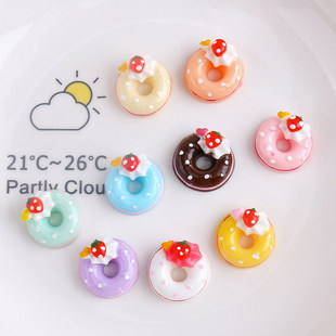 Strawberry donut cake diy mobile phone shell cream glue material handmade crystal glue making resin accessories