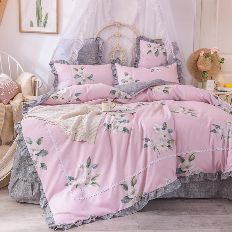 2019新款小清新网红针织棉床上用品四件套1.5米1.8m 厂价促销