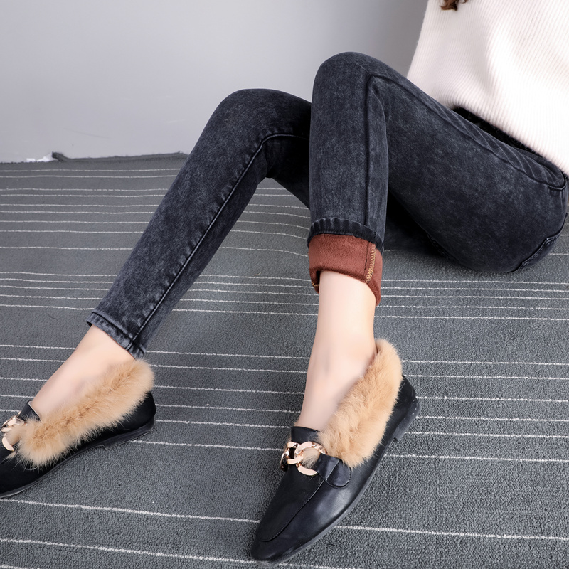 2019新款秋季韩版高腰加长牛仔裤女修身显瘦黑色小脚裤高个子女裤假一赔三