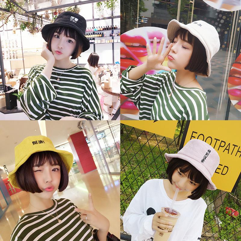 春季字母休闲百搭韩国可爱软妹渔夫帽学生逛街文艺日系黄色盆帽子