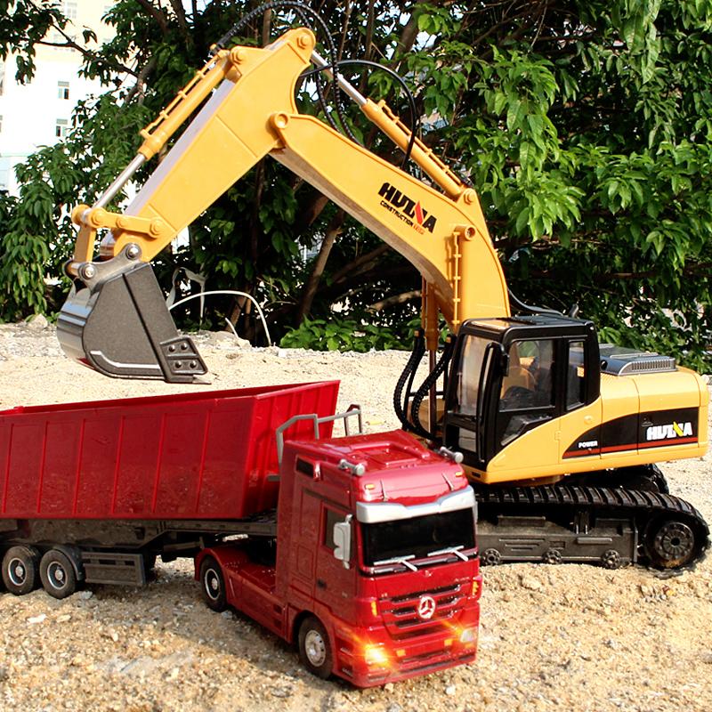 Điều khiển từ xa dành cho người lớn boy dump truck điều khiển từ xa kỹ thuật máy xúc semi-trailer mẫu xe big truck đồ chơi