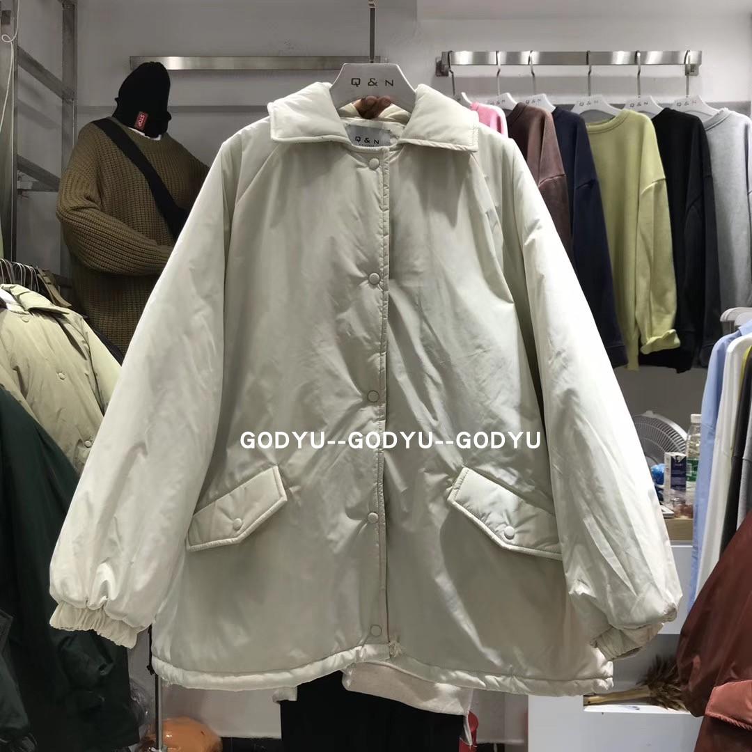 Mùa xuân và mùa hè mới Hồng Kông hương vị lỏng lẻo lớn màu rắn đơn giản áo khoác cotton giản dị hoang dã dày áo ấm - Bông