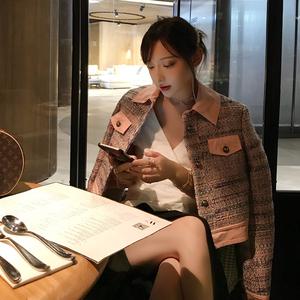 Trái tim màu xanh Grace Li nhỏ hương hit màu khâu dệt ngắn áo khoác nữ mùa thu 2018 mới tính khí hàng đầu