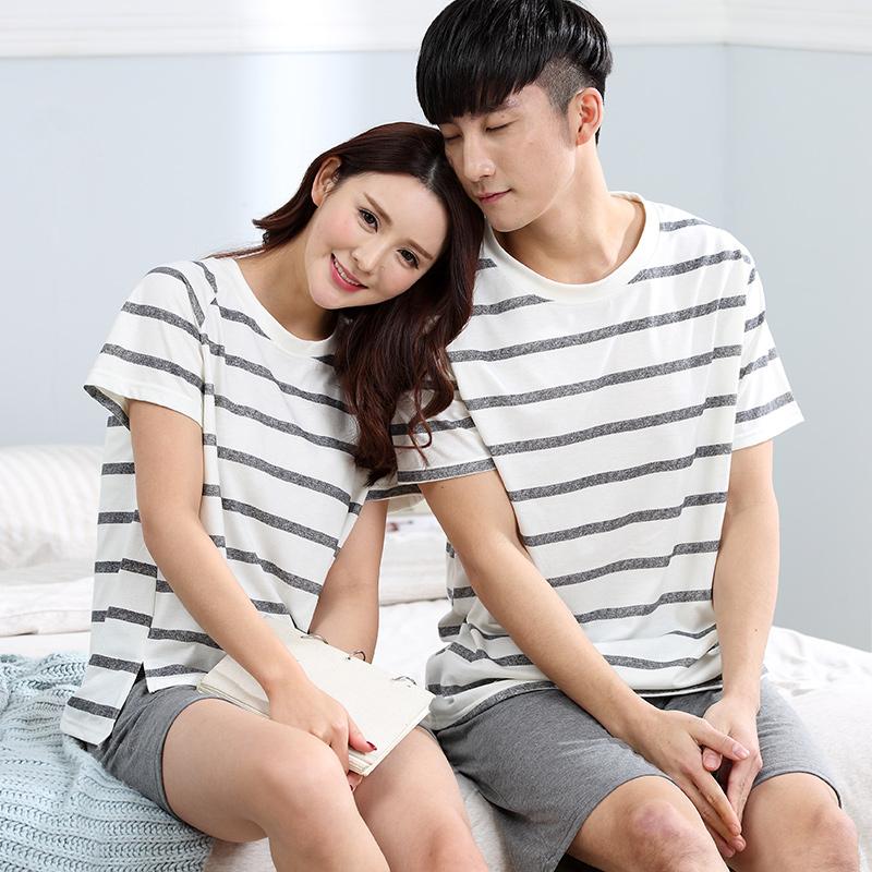 夏季情侣短袖短裤双口袋纯棉加大码肥胖男装女装少女家居服睡衣