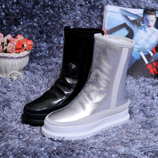 European and American winter sponge cake thick-soled warm sheepskin snow boots women leather short boots cotton boots non-slip mid-tube boots