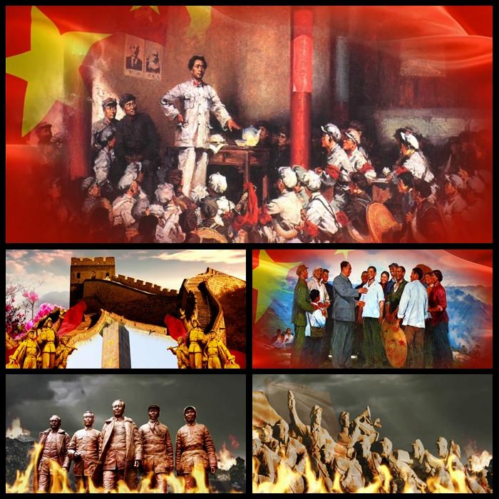 JN72 (在灿烂的阳光下) 七一建党建 军国庆节 晚合唱背景视频