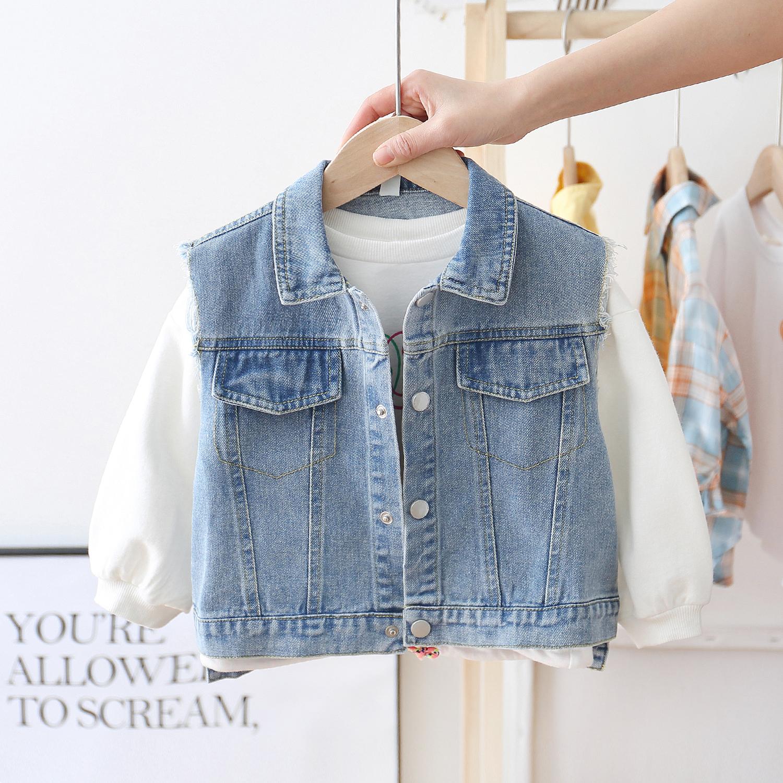 Áo khoác trẻ em denim cho bé trai phong cách nước ngoài Hàn Quốc 2020 mùa xuân mới trẻ em vest nữ cotton bé - Áo ghi lê