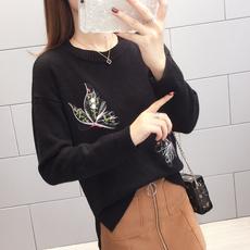 2811#实拍2019春装新款韩版chic针织衫时尚蝴蝶图案显瘦开叉毛衣