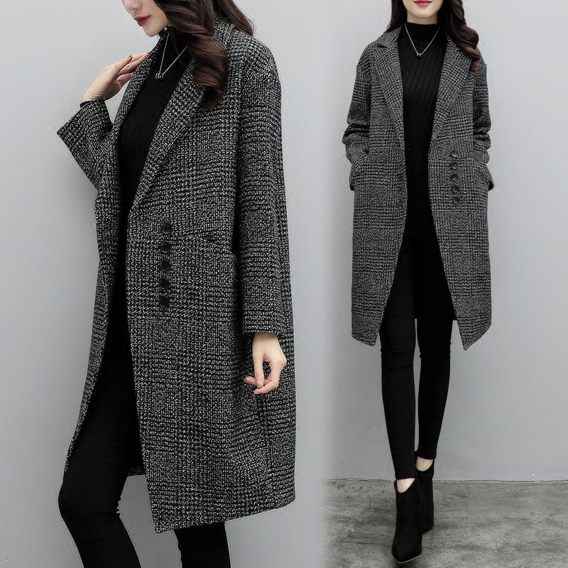 Mùa giải phóng mặt bằng chống mùa thu phiên bản Hàn Quốc mới là mỏng trong phần dài của áo len kẻ sọc nữ thời trang kiểu áo len