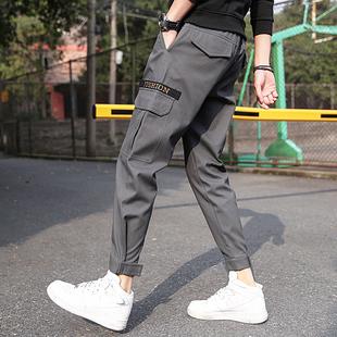 工装裤男士休闲裤潮牌直筒九分裤束脚哈伦裤