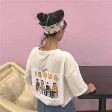 5979#实拍夏季新款韩版宽松百搭口袋印花字母学生女短袖T恤上衣