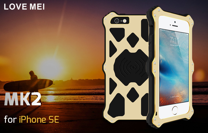 LOVE MEI MK2 Gorilla Glass Aluminum Metal Hybrid Shockproof Outdoor Case Cover for Apple iPhone SE/5S/5