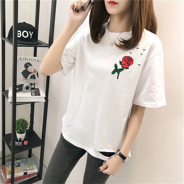 Summer Korean Fashion Hole Embroidery Rose Large Size Female Short-Sleeve T-Shirt