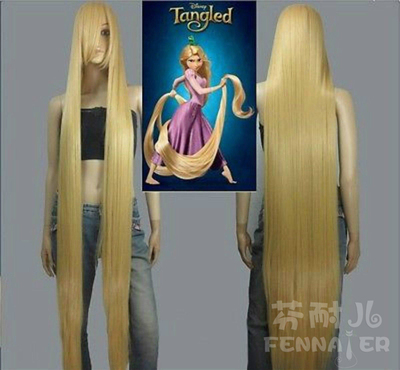 taobao agent Fenner costume cosplay fake hair golden yellow straight hair 150cm long hair princess oblique bangs 1.5 meter wig
