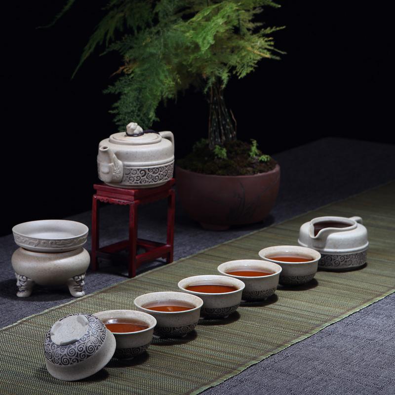功夫茶具套装陶瓷粗陶茶器茶杯盖碗公道杯茶壶整套茶具