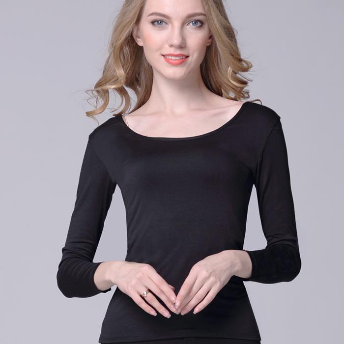 Phương thức siêu mỏng lớn vòng cổ bông của phụ nữ đồ lót nhiệt mảnh duy nhất thấp cổ áo sơ mi mùa thu quần áo đáy áo