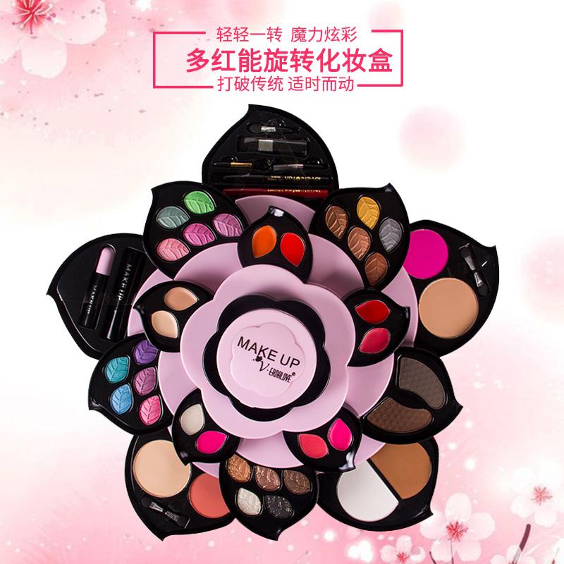 Trang điểm tấm thiết lập kết hợp xoay cánh hoa hoa mận sen bóng mắt món ăn net đỏ vibrato trang điểm hộp toàn bộ