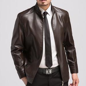 Mùa thu và mùa đông với da mỏng da cổ áo cổ áo ngắn da của nam giới kích thước lớn mỏng dày áo khoác da áo khoác da giản dị
