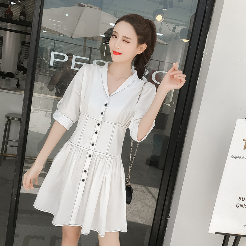 891#实拍小视频夏季新款韩版单排扣高腰修身显瘦连衣裙女