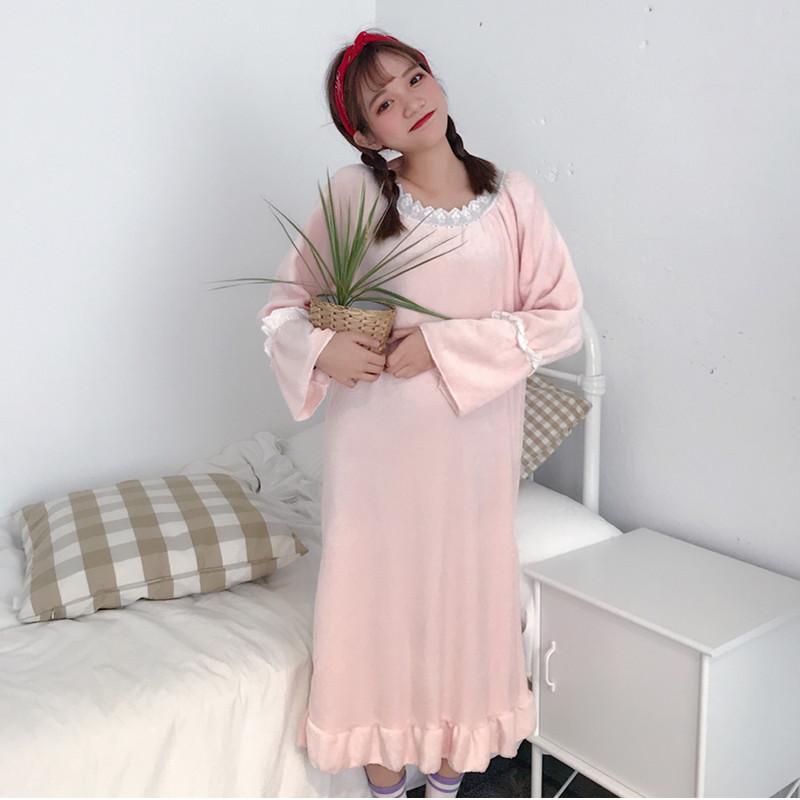 6615实拍可爱毛绒绒加厚荷叶边长袖睡衣连衣裙学生睡裙家居服女士